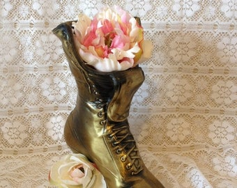 ON SALE Planter Boot Victorian Boot Planter Brass Plated Boot