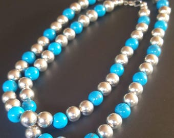 "Blue Turquoise Sterling Bead Necklace 30"" Long Dyed Howlite"