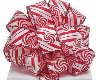 "Ribbon by the yard, Wired 1.5"" Peppermint Swirls with Diagonal Stripes, Christmas,  Crafts, Wreath making, Arrangement, Scrap-booking, Gifts"