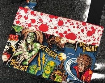 Classic Movie Monster Blood Splatter Crossbody Purse