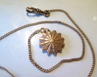 Victorian Watch Chain Gold Fill with Sun Charm Fob 1880s Hallmark