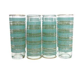 Vintage Libbey Glassware, Aqua Green Tumblers, Eight Phoenician Collins, Boxed Hostess Set, 1960s Drinking Glasses, Mid Century Barware