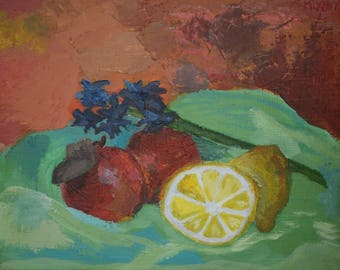 Apples and lemon. Original acrylic painting.