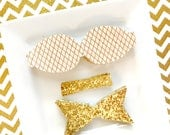 READY to SHIP faux leather 2.5 inch chunky bow  DIY gold on cream leather canvas with white iridescent glitter, gold glitter canvas Set of 2