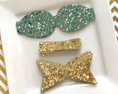 READY to SHIP faux leather 2.5 inch chunky bow DIY gold on turquoise glitter with gold snakeskin lined glitter, gold glitter canvas Set of 2