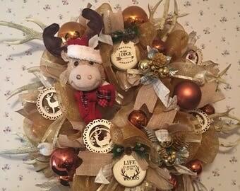 Deco mesh lodge deer antler Christmas Wreath
