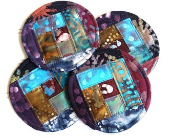 Quilted Coaster Set, Round Fabric Coasters, Earth Tones Batik Fabric