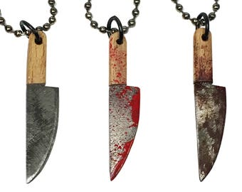 Bloody Butcher Knife - Horror Themed Necklace Charm Pendant