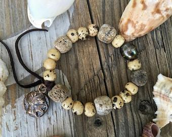 Rustic Tahitian Pearl Bracelet, Tahitian Pearl,  Rustic Bone and Stegodon, Rustic Jewelry, Bronze Coin, Leather Fringe