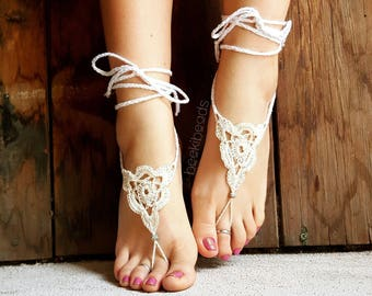 OSFA Crochet Barefoot Sandals Hippie Jewelry Festival Beach Summer Accessories Handmade Bohemian Sandals Gypsy Earthing Soleless Shoes Ivory