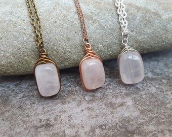 Framed Rose Quartz Necklace - Wire Wrapped Rose Quartz Herringbone Pendant - Bronze, Copper and Silver Finish - jingsbeadingworld