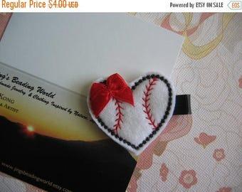 Clearance Baseball - Embroidered Felt Clippies - Felt Hair Clips - Red Black White - Heart