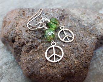 Peace Sign Green Earrings - Spring Green Crystal Silver Plated Earrings - Peace on Earth, Everyday, jingsbeadingworld inspired by nature