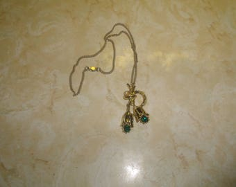 vintage necklace goldtone chain flower pendant green rhinestones faux pearl