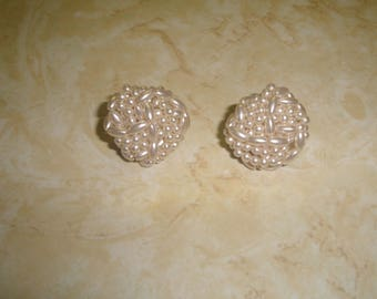 vintage clip on earrings white faux pearls lucite bead clusters