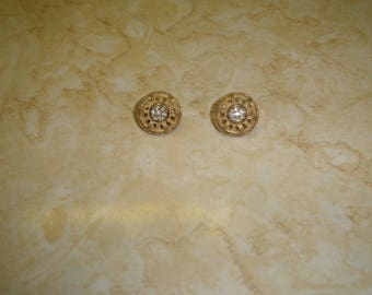 vintage clip on earrings goldtone basketweave pattern rhinestones
