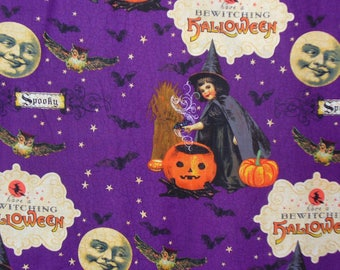 Halloween Fabric, Bewitching Fabric, Vintage Children, Witches, Owls, Bats, Moon,  Halloween Vignettes,  Cotton Fabric, By the Yard