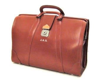 60s Briefcase Brown Leather Bag Leather Briefcase 1960s Brown Business Case Cognac Brown Bag Large Briefcase Top Grain Cowhide Attache Case