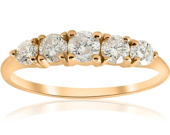 Yellow gold diamond ring 1 ct TDW 5-Stone Graduated Diamond Anniversary Engagement Ring 14k Yellow Gold