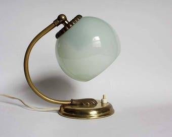 Vintage 1950s Art Deco table lamp / wall light /sconce. Pale mint green opaline glass globe lamp shade / brass