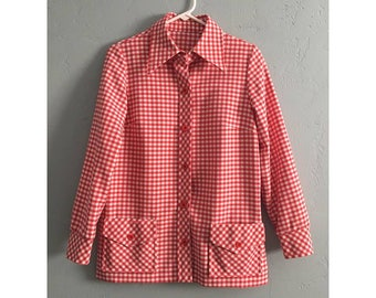 Vintage Red and White Gingham Long Sleeve Button Up Shirt