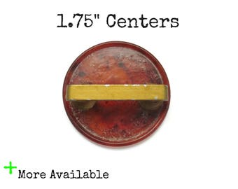 """Vintage Art Deco Drawer Pulls - 1 3/4"""" 1.75"""" on center Art Deco Bakelite with metal insert - More Available - Red Amber Waterfall"""