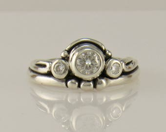 R1135- Sterling Silver Moissanite Ring- One of a Kind