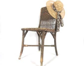 Antique Victorian Wicker Chair / Side Chair / Rattan / Coastal / Cottage / Cabin / Sun Porch / Summer Decor