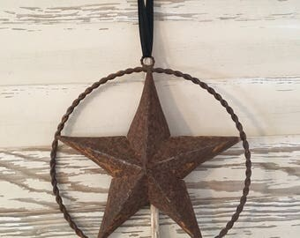 Vintage Prairie Rusty Metal Hanging Star