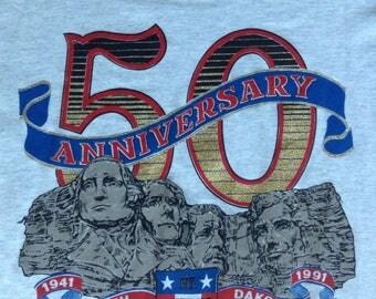 50th Anniversary Mt. Rushmore 1941-1991 t shirt USA XL