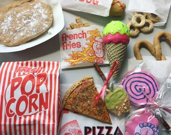 Carnival Food Dog Treat Box - Fair Inspired Treat Box for Dogs - Gourmet Dog Treats - Fried Dough - Caramel Apple - Cotton Candy - Donuts