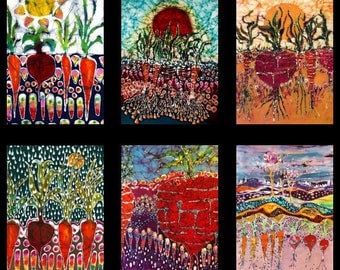 Garden Fabric batik  - yard - 6 images from my original garden batik  for quilters  / fiber artists