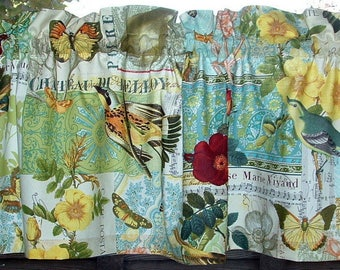 "Valance or Panel Cotton  BUTTERFLIES & BIRDS Print Window treatment 12"" 14"" 18"" 24"" 32"" Long, Custom"