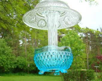 REclaimed Aqua and Clear Glass Bird Feeder, Unique Dish, UPCYCLED, recycled, Garden art, Hanging Garden, Yard ART,REPERPOSED, Earth Friendly