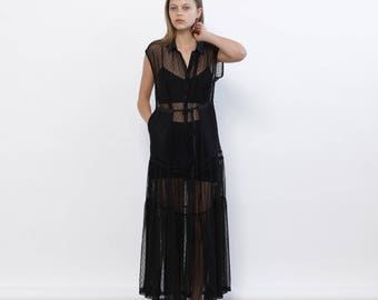 Big Summer Sale Evening Dotted Mesh Maxi Dress, Black
