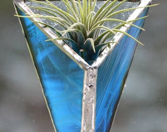 Shades of Blue Airplant Suncatcher including the live Tillandsia Air Plant