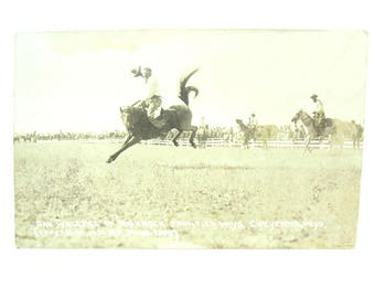 Rodeo Real Photo Postcard. Sepia Photograph Airborne Cowboy Bucking Horse. Cheyenne WY. R R Doubleday. Vintage 1920s Collectibles
