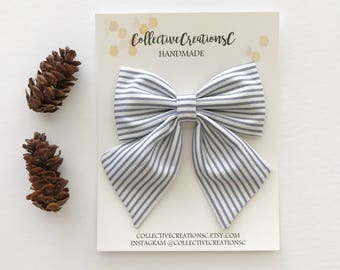 Oversized Sailor Bow - Sailor Bow Clip - Fabric Bow Clip - Big Sailor Bow - Girls Bow Clip - Hair Bow - Hair Accessories - Gray White Stripe