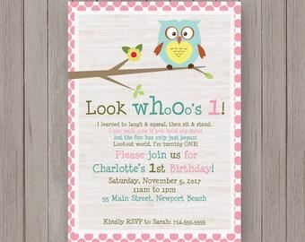 First Birthday Party Invitation | Owl Birthday Invite |  girls 1st Birthday Party invites | Owls | teal owl pink polka Invitations | Invites