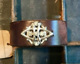 Dark Brown Leather Cuff Bracelet Adorned with Vintage Jewelry Y644 madeinthedeepsouth