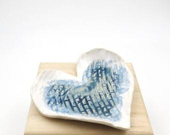Heart Ring Dish. Ring Holder. Jewelry Dish. Blue. Heart Ceramic Ring Dish. Rustic. Heart Shaped. Mini Soap Dish.