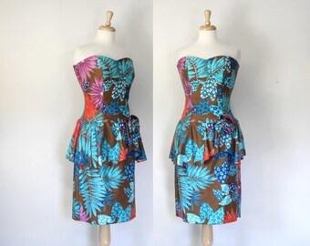 ON SALE Vintage 80s Tropical Print Strapless Peplum Dress