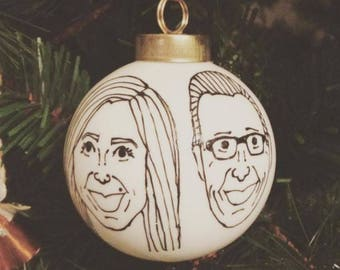 custom caricature christmas ornament - two hand drawn portraits - white ceramic ball - black line drawing - quantity of one (1)
