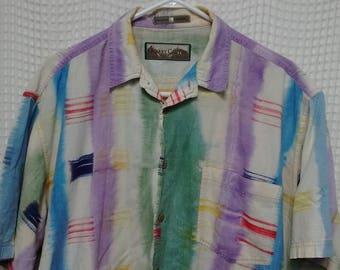 vintage 90s colorful Madras Shirt short sleeve button up oversized Large tie dye hippie lightweight wavey plaid Quarry Canyon Hawaiian beach