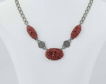 "Vintage Floral Necklace Sterling Silver Simulated Carved Coral Marcasites 15.5"" G0119"