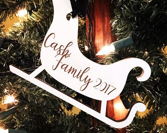 Personalized Engraved Christmas 2017 Wood Sleigh Christmas Ornament - Wood Sled Ornament