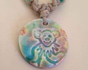 Grateful Dead Hemp Necklace with Dancing Bear Pendant