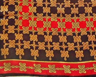 Vintage Scarf Fashion Chocolate Brown Red Tan Scarf  F12