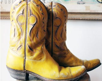 Vintage Low Calf Mustard Acme Cowboy Boots