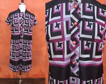 Vintage 1960s 1970s purple black mod geometric shift tunic dress. Volup XL Plus size